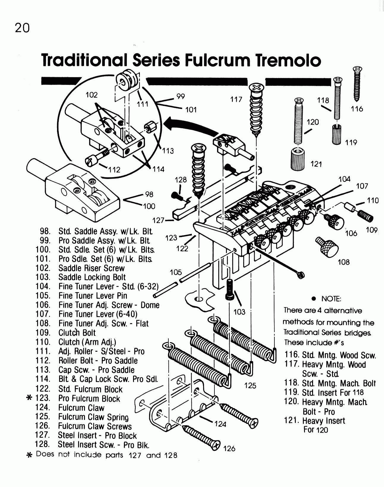 Kahler 2520 Traditional Fulcrum Tremolo